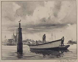 """Gordon Grant (1875-1962). Group of three lithographs, including """"Conflict,"""" """"Net Menders,"""" and """"Between Tides."""" All three pencil signed along the lower right. All prints are matted, and have Associated American Artists, New York, labels adhered to the verso.  SKU: 01314 Follow us on Instagram: @revereauctions"""