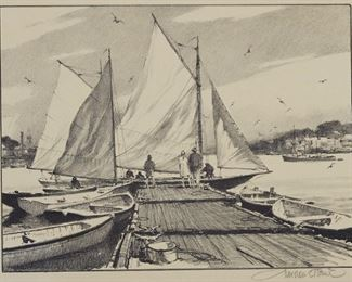 """Gordon Grant (1875-1962). Group of four lithographs depicting ships, including """"Two Schooners,"""" """"Fishermen's Haven,"""" and two prints of """"Boats to Let."""" All pencil signed along the lower right. """"Two Schooners"""" is additionally titled along the lower left. All except """"Two Schooners"""" are matted and unframed, and have Associated American Artists, New York, labels adhered to the verso of the mat.  SKU: 01315 Follow us on Instagram: @revereauctions"""