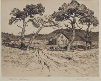 """Group of four prints. Includes Melville T. Wire (1877-1966) """"Back From the Beach,"""" etching on paper, hand signed along the lower right and titled along the lower left; Asa Cheffetz (1897-1965) """"Country Scene,"""" wood engraving on paper, signed in the plate along the lower right and hand signed along the lower right; Melville T. Wire (1877-1966) """"Hillside Pastures,"""" etching on paper, hand signed along the lower right and titled along the lower left; and Howard Baer (1906-1986) """"Planting Rice, Kunming, China,"""" lithograph on paper, hand signed along the lower right. All are matted, with labels from Associated American Artists, New York, attached to the verso.  SKU: 01317 Follow us on Instagram: @revereauctions"""
