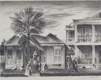 """Group of four prints. Includes Aaron Bohrod (1907-1992) """"New Orleans' Street,"""" lithograph on paper, hand signed along the lower right; Frederick Taubes (1900-1981) """"Concerto,"""" etching on paper, hand signed along the lower right; Marion Greenwood (1909-1970) """"Fringed Scarf,"""" lithograph on paper, hand signed along the lower right; and John Costigan (1888-1972) """"Autumn,"""" etching on paper, hand signed along the lower right. All are matted, with Associated American Artists, New York, labels adhered to the verso.  SKU: 01318 Follow us on Instagram: @revereauctions"""