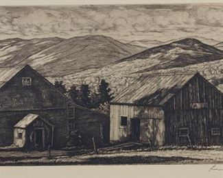 Luigi Lucioni (1900-1988). Group of two etchings depicting farm scenes. Both pencil signed along the lower right.  SKU: 01316 Follow us on Instagram: @revereauctions