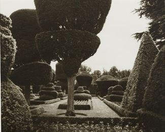 """Lynn Geesaman (b. 1938). Pair of photographs titled """"Levens Hall, Cumbria,"""" depicting the gardens at Levens Hall, Cumbria, England. Silver gelatin prints. 1986.  SKU: 01982 Follow us on Instagram: @revereauctions"""
