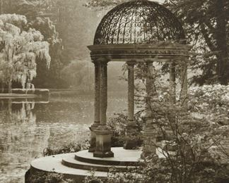 """Lynn Geesaman (b. 1938). Pair of photographs depicting scenes of Longwood Gardens, Pennsylvania, titled """"Love Temple, Longwood Gardens,"""" and """"Conservatory, Interior, Longwood Gardens,"""" respectively. Silver gelatin prints. 1984.  SKU: 01985 Follow us on Instagram: @revereauctions"""