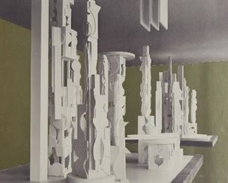 """Louise Nevelson (1899-1988). Screenprint with gold foil on paper titled """"Bicentennial Dawn,"""" depicting Nevelson's monumental sculpture of the same title. 1976. Signed and dated '76 along the lower right and numbered 60/100 along the lower left.  SKU: 01856 Follow us on Instagram: @revereauctions"""