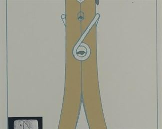 Claes Oldenburg (b. 1929). Aquatint on paper depicting Oldenburg's iconic clothespin. Signed along the lower right and numbered 88/200 along the lower left.  SKU: 01858 Follow us on Instagram: @revereauctions
