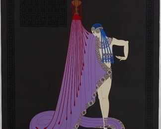 """Erte (1892-1990). Serigraph on paper titled """"Slave of Salome."""" Signed along the lower right and numbered AP 64/70 along the lower right.  SKU: 01863 Follow us on Instagram: @revereauctions"""