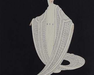 """Erte (1892-1990). Silkscreen on paper titled """"Purity"""" depicting a young woman robed in white. Signed along the lower right and numbered 184/300 along the lower left.  SKU: 01865 Follow us on Instagram: @revereauctions"""