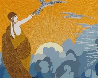 """Erte (1892-1990). Silkscreen print on paper titled """"Wings of Glory"""" depicting a woman releasing a hawk into the sunrise. Signed along the lower right and numbered 44/325 along the lower left.  SKU: 01867 Follow us on Instagram: @revereauctions"""