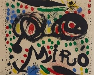 """Joan Miro (1893-1983). Color lithograph on Arches. This is one of the special edition of 150 prints that Miro created of the poster he designed for the 1966 """"Joan Miro Graphics"""" exhibition at the Philadelphia Museum of Art. Signed along the lower right and numbered 144/150 along the lower left. Mourlot 502. SKU: 01860 Follow us on Instagram: @revereauctions"""