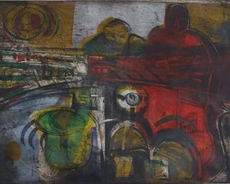 Malcolm Myers (1917-2002). Color lithograph on paper depicting an abstracted image of two figures. Pencil signed along the lower right.  SKU: 01466 Follow us on Instagram: @revereauctions
