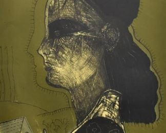 """Gonzalo Cienfuegos (b. 1949). Lithograph on paper titled """"Mujer Verde"""" depicting a woman's profile on a green background. Signed and dated '99 along the lower right. Numbered 57/60 along the lower left. Not framed. SKU: 01383 Follow us on Instagram: @revereauctions"""
