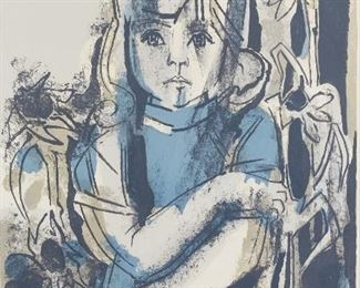 """Francoise Gilot (b. 1921). Color lithograph on paper titled """"Jeunesse en Fleur"""" depicting a girl among flowers. Pencil signed along the lower right and numberd 53/100 along the lower left. A label from Associated American Artists, New York, is adhered to the verso.  SKU: 01588 Follow us on Instagram: @revereauctions"""