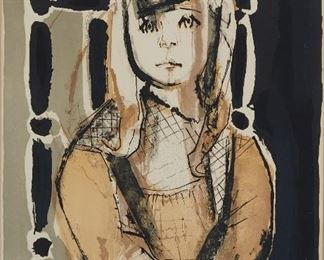"""Francoise Gilot (b. 1921). Color lithograph on paper titled """"La Petite Fille,"""" depicting a young girl sitting in a chair. Pencil signed along the lower right and numbered 19/100 along the lower left. A label from Associated American Artists, New York is adhered to the verso.  SKU: 01587 Follow us on Instagram: @revereauctions"""