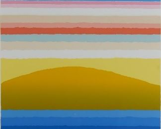 """Arthur Secunda (b. 1927). Group of two prints. One silkscreen on paper titled """"Mirage."""" Signed along the lower right; titled and numbered 90/150 along the lower left. One silkscreen on paper titled """"Cosmic Radiation."""" Signed along the lower right; titled and numbered 30/150 along the lower left.  SKU: 01864 Follow us on Instagram: @revereauctions"""
