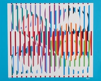 """Yaacov Agam (b. 1928). Silkscreen on paper titled """"Faisceau."""" Signed along the lower right and numbered 97/150 along the lower left. SKU: 01668 Follow us on Instagram: @revereauctions"""