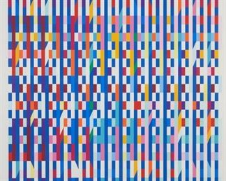 """Yaacov Agam (b. 1928). Silkscreen on paper titled """"Shalom Double Chai."""" Signed along the lower right and numbered 212/270 along lower left. SKU: 01821 Follow us on Instagram: @revereauctions"""