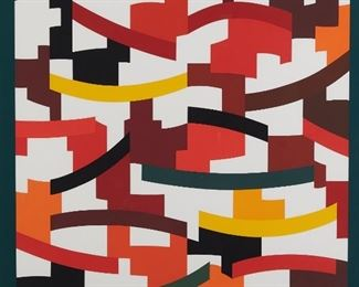 """Yaacov Agam (b. 1928). Silkscreen titled """"Union III."""" Signed along the lower right and inscribed E/A along the lower left.  SKU: 01846 Follow us on Instagram: @revereauctions"""