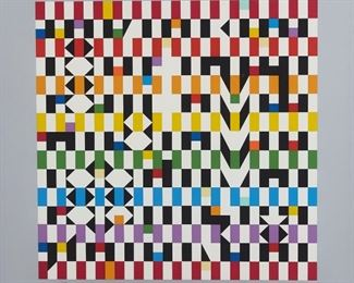 """Yaacov Agam (b. 1928). Silkscreen on paper titled """"Rhythm Mirror."""" Signed along the lower right and numbered 59/99 along the lower left. A White Oaks Gallery label is adhered to the verso. SKU: 01847 Follow us on Instagram: @revereauctions"""