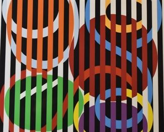 """Yaacov Agam (b. 1928). Serigraph on paper titled """"Suite Agam 2."""" Signed along the lower right and numbered EA 16/18 along the lower left. A J. Michael Galleries Label is adhered to the verso.  SKU: 01850 Follow us on Instagram: @revereauctions"""