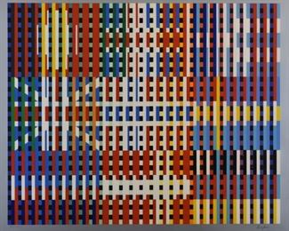 """Yaacov Agam (b. 1928). Lithograph on paper titled """"Flags of all Nations-Europe."""" Signed along the lower right and numbered VII/XXV along the lower left.  SKU: 01851 Follow us on Instagram: @revereauctions"""