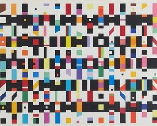 """Yaacov Agam (b. 1928). Serigraph on paper titled """"Hommage a G.B."""" Signed along the lower right and numbered 132/200 along the lower left.  SKU: 01862 Follow us on Instagram: @revereauctions"""