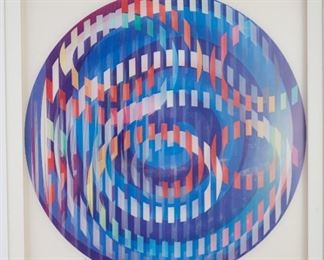 """Yaacov Agam (b. 1928). Agamograph titled """"Message of Peace."""" Signed along the lower center and numbered 63/99 along the lower left. A J-Michael Galleries label is adhered to the verso. The verso is additionally inscribed with the title.  SKU: 01223 Follow us on Instagram: @revereauctions"""