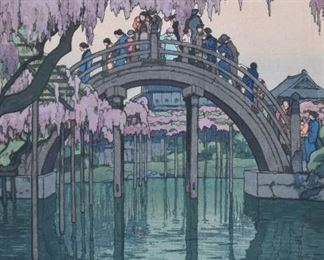 """Hiroshi Yoshida (1876-1950). Woodblock print titled """"Kameido Bridge"""" from Yoshida's """"Twelve Scenes of Tokyo"""" series. Signed and marked in the plate along the lower right; pencil signed along the lower right and titled along the lower left. An ink inscription runs along the left side of the plate. SKU: 01966 Follow us on Instagram: @revereauctions"""
