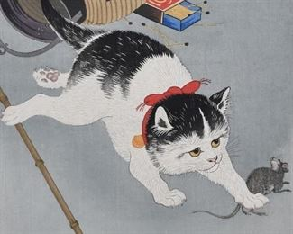 Ohara Koson (1887-1945). Woodblock print depicting a cat chasing a mouse and knocking over a lantern. Signed and marked in the plate along the lower left.  SKU: 01967 Follow us on Instagram: @revereauctions