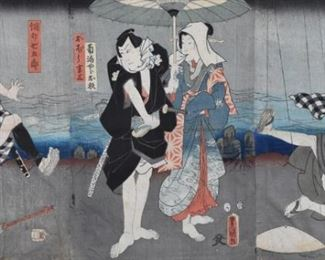Toyokuni III (1786-1865). 19th century Japanese woodblock print triptych.  SKU: 01968 Follow us on Instagram: @revereauctions