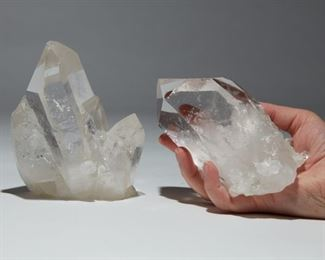 Two quartz crystal scepters, each with a cluster of associated points. SKU: 01303 Follow us on Instagram: @revereauctions