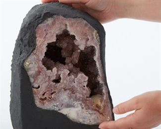 Amethyst Geode with interior cavity fully lined with lovely lilac amethyst crystals.  SKU: 01304 Follow us on Instagram: @revereauctions