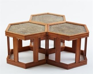 John Keal for Brown-Saltman, USA. Set of three midcentury modern hexagonal occasional tables, c. 1960s. Walnut bases with gold pebbled resin and glass tops. All with Brown-Saltman labels and the stamped number 240 on the underside of the tabletops. With one broken table. SKU: 01375 Follow us on Instagram: @revereauctions