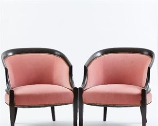 Pair of Dunbar or Baker style midcentury armchairs with pink upholstery.  SKU: 01452 Follow us on Instagram: @revereauctions