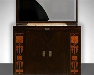 Attributed to August Ungethüm (1864-1911). Vienna Secessionist sideboard, Austria, c. 1905. Macassar and ebony with inlaid geometric designs in fruitwood. Marble panel along the top. With mirror. August Ungethüm was a successful Viennese cabinet maker who worked for his family furniture company, founded by his father, August Friedrich Ungethüm (1834-1905), to create some of the most popular furniture in Austria during the Vienna Secession period. He studied under Josef Hoffman and Otto Wagner, and designed his own furniture as well as producing designs by such notable designers as Koloman Moser.  SKU: 01925 Follow us on Instagram: @revereauctions
