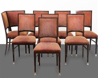Set of eight Vienna Secessionist chairs in the manner of August Ungethüm (1864-1911). Austria, circa early 20th c. Seven side chairs and one corner chair. Red and gold upholstery. Unsigned. August Ungethüm was a successful Viennese cabinet maker who worked for his family furniture company, founded by his father, August Friedrich Ungethüm (1834-1905), to create some of the most popular furniture in Austria during the Vienna Secession period. He studied under Josef Hoffman and Otto Wagner, and designed his own furniture as well as producing designs by such notable designers as Koloman Moser.  SKU: 01923 Follow us on Instagram: @revereauctions