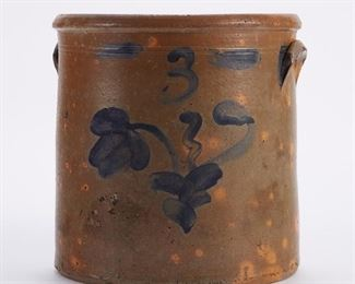 Pennsylvania stoneware crock, circa 19th century. Decorated with a cobalt painted vine and number 3.  SKU: 01301 Follow us on Instagram: @revereauctions
