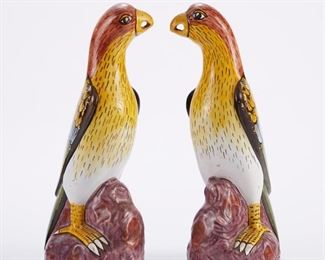 Pair of 19th century faience tin glazed polychrome ceramic parrots. Marked in blue under the base.  SKU: 01306 Follow us on Instagram: @revereauctions