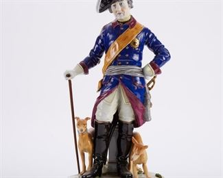 Dresden Porcelain figurine of Frederick the Great, after the sculpture by Johann Gottfried Schadow (1764-1850). Marked in gold along the base.  SKU: 01299 Follow us on Instagram: @revereauctions