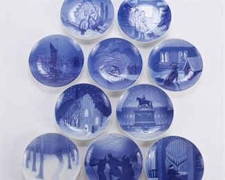 Bing and Grondahl, Denmark. Group of ten blue and white porcelain Christmas Eve (Jule Aften) plates, dating from 1910-1919.  SKU: 01357 Follow us on Instagram: @revereauctions