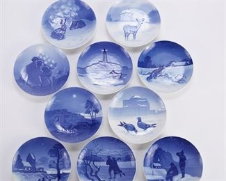 Bing and Grondahl, Denmark. Group of ten blue and white porcelain Christmas Eve (Jule Aften) plates, dating from 1920-1929.  SKU: 01358 Follow us on Instagram: @revereauctions