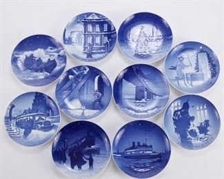 Bing and Grondahl, Denmark. Group of ten blue and white porcelain Christmas Eve (Jule Aften) plates, dating from 1930-1939.  SKU: 01359 Follow us on Instagram: @revereauctions