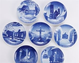 Bing and Grondahl, Denmark. Group of ten blue and white porcelain Christmas Eve (Jule Aften) plates, dating from 1940-1949.  SKU: 01360 Follow us on Instagram: @revereauctions
