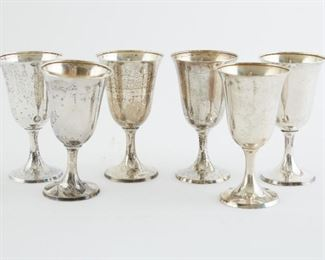 "Set of five International Sterling silver wine cups. Marked ""International Sterling P 661"" under the bases.  SKU: 01845 Follow us on Instagram: @revereauctions"