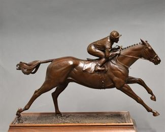 Marcel Jovine (1921-2003). Bronze sculpture of running horse and jockey. Signed, dated '79, and numbered 1/10 along the base. SKU: 01911 Follow us on Instagram: @revereauctions