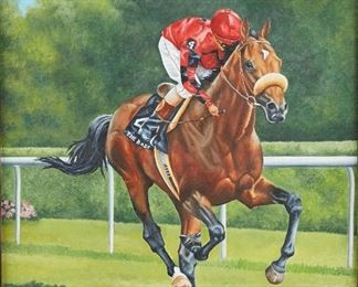 """Christine Picavet (1951-2016). Oil on canvas titled """"The Bart"""" depicting the American racehorse The Bart. Signed and dated 1981 along the lower left. A stamp on the verso reads """"Christine Picavet's Equine Art, P.O. Box 581, Arcadia, Calif. 91006, (213) 445-4917. 446-5735."""" With photo plaque commemorating The Bart's 1982 Turf Cup win.  SKU: 01908 Follow us on Instagram: @revereauctions"""