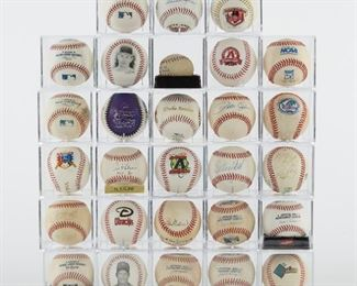 Large group of signed and unsigned, game used baseballs. The signed baseballs include Bo Jackson, Duke Snider (faded), Al Kaline, Stan Musial, Vida Blue (faded), Pete Rose, Carleton Fisk, Harmon Killebrew and a team signed ball. There is also a large group of commemorative balls with facsimile signatures and some game used balls. This is a great collection of baseballs from Hall of Fame players. The Carlton Fisk autograph comes with a certificate of authenticity from Heroes Memorabilia.  SKU: 01207 Follow us on Instagram: @revereauctions