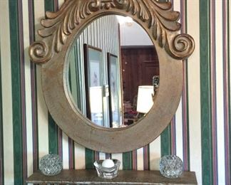 Wall mirror and matching shelf