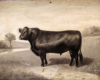 J.W. Hills Oil on Canvas, Angus Bull
