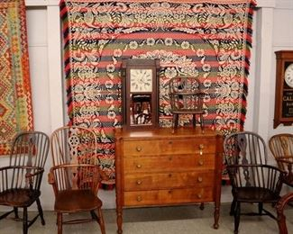 Birch Chest, Windsor Chairs, AMerican coverlet, rugs, clocks