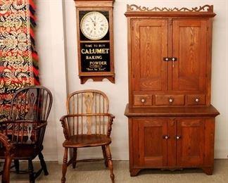 Windsor Chairs. Cupboard, Wall Clock